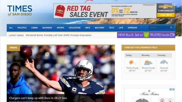 Times of San Diego home page early Sunday evening.