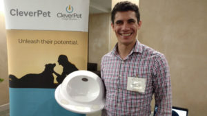 CleverPet CEO Leo Trottier with his company's Hub for dogs.