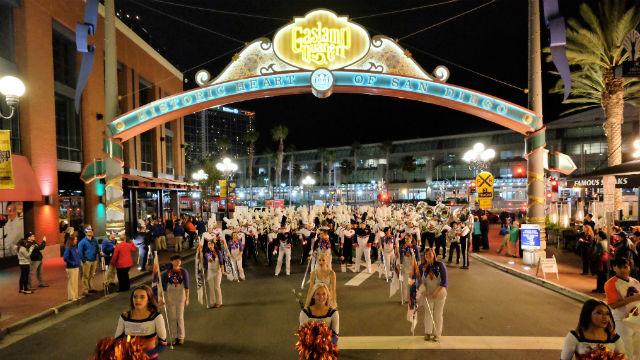 A prior-year Gaslamp March. Courtesy San Diego Bowl Game Association