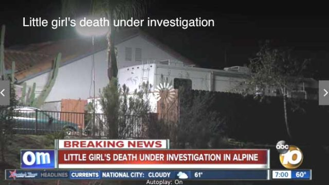 Image of girl's death scene in Alpine. Photo via KGTV