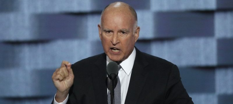 California Governor Jerry Brown speaks at the Democratic National Convention in Philadelphia. REUTERS/Mike Segar