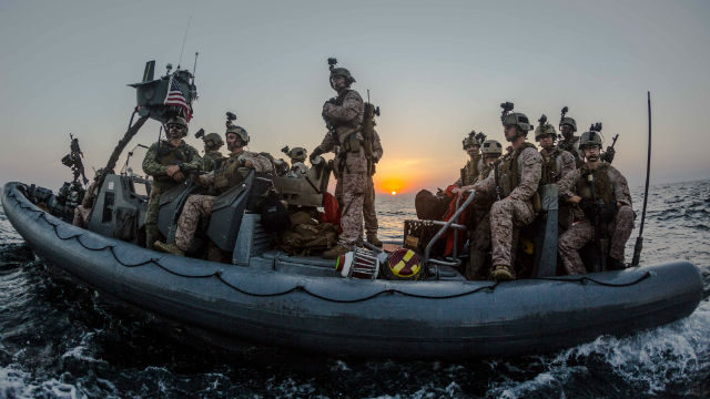 Marines aboard a rigid-hull inflatable boat in the Gulf of Aden. Photo by Gunnery Sgt. Robert B. Brown Jr.