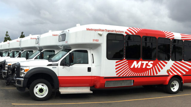 MTS purchased 31 minibuses and 46 paratransit buses fueled by propane. Photo courtesy MTS.