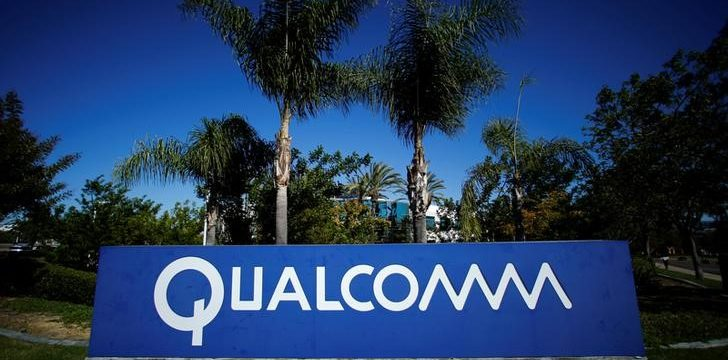 A Qualcomm sign in front of one of its many buildings in San Diego.