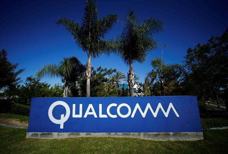 A Qualcomm sign in front of one of its many buildings in San Diego.  REUTERS/Mike Blake