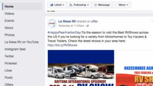 Screen shot of La Mesa RV ad before being removed. Image via Facebook