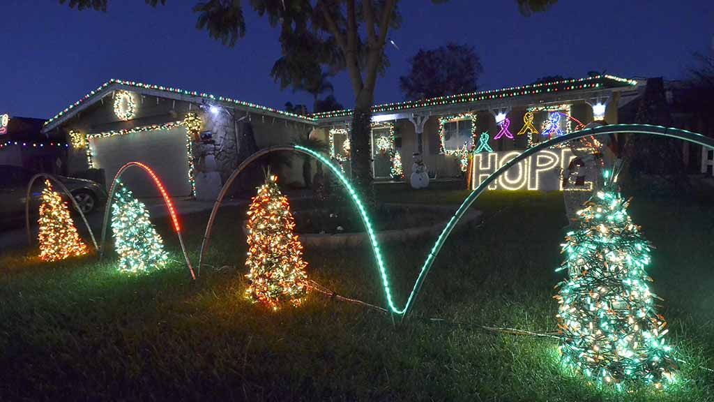 the home of michael and amber balazs on roe drive in santee has a lighted sigh - Christmas Decorations San Diego