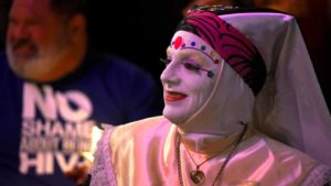 Sister Ida of the Sisters of Perpetual Indulgence charity took part in the tree lighting ceremony. Photo by Chris Stone
