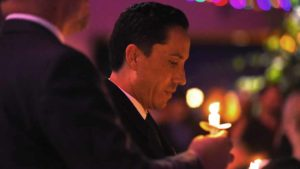 State Assemblyman-elect Todd Gloria listens to the San Diego Gay Men's Chorus during the candle lighting and tree lighting ceremony. Photo by Chris Stone