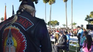 Member of Bikers for Christ attended the wreath laying ceremony at Fort Rosecrans National Cemetery. Photo by Chris Stone