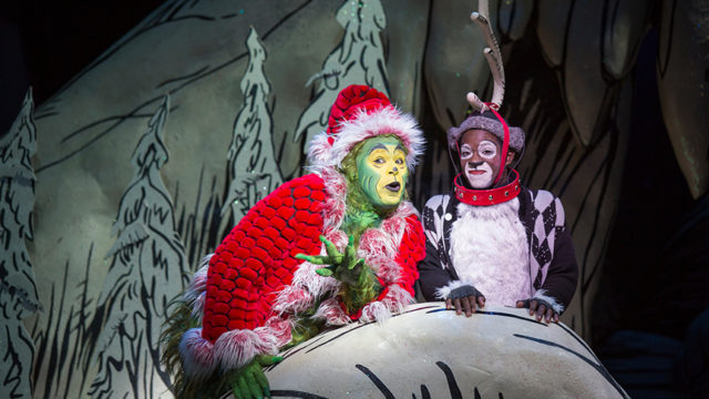 (from left) J. Bernard Calloway as The Grinch and Tyrone Davis, Jr. as Young Max in Dr. Seuss' How the Grinch Stole Christmas!, directed by James Vásquez, running Nov. 5 – Dec. 26, 2016 at The Old Globe. Photo by Jim Cox.