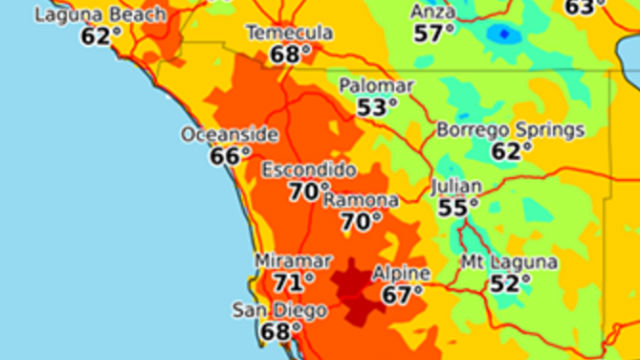 San Diego Weather Map Today.Dry Tranquil Weather Returns To San Diego County After Storm