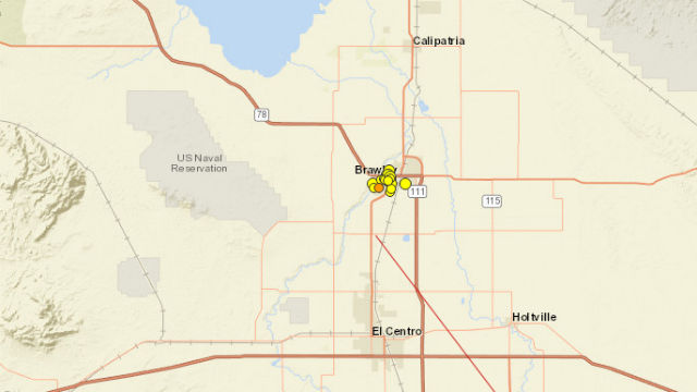 U.S. Geological Survey map shows the earthquakes around Brawley.