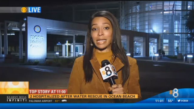 A KFMB-TV reporter during a newscast over the weekend. Image from video