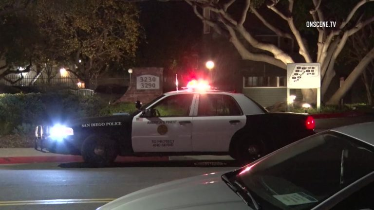 A San Diego Police cruiser blocks a street near the fatal stabbing. Courtesy OnScene.TV