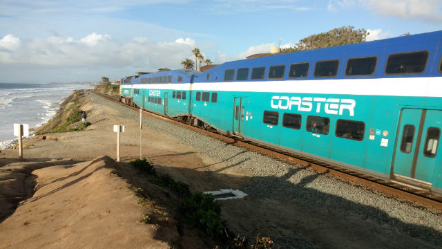 A Coaster train heading north on the Del Mar bluffs. Photo by Chris Jennewein