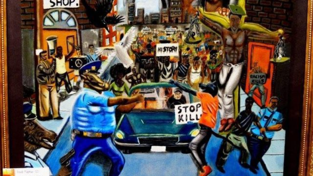 The painting by Missouri high school student David Pulphus that outraged law enforcement groups. Photo courtesy Office of Lacy Clay.
