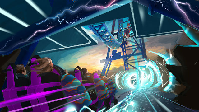 "Artist concept for SeaWorld San Diego's ""Electric Eel"" roller coaster."
