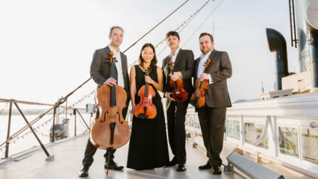 The Hausmann Quartet on the top deck of the Berkeley. Courtesy Maritime Museum