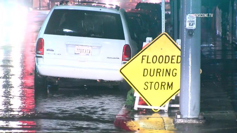 Minor flooding was reported in Los Angeles, where the storm hit first. Courtesy OnScene.TV