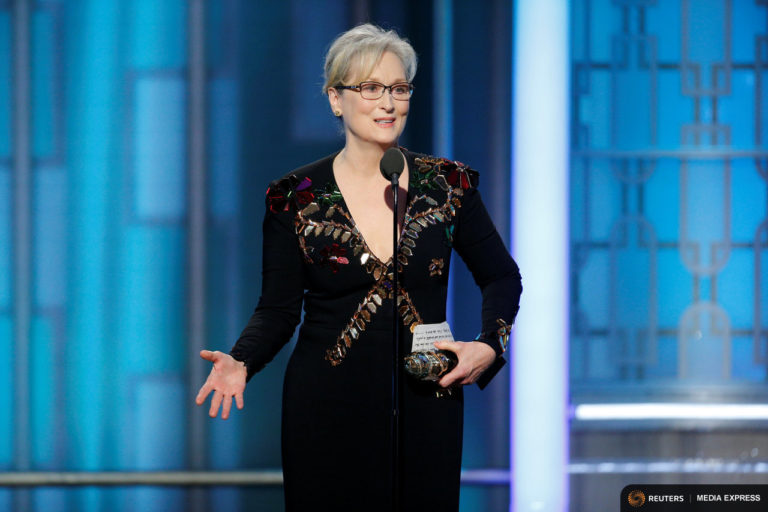 Actress Meryl Streep accepts the Cecil B. DeMille Award during the 74th Annual Golden Globe Awards show in Beverly Hills. Photo by Paul Drinkwater via REUTERS