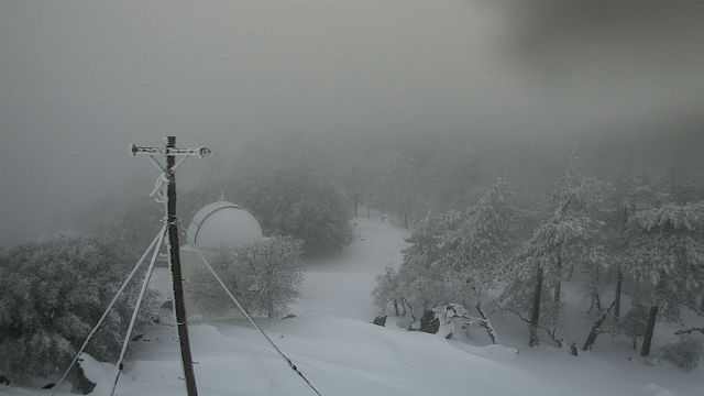 Snow at the Mt. Laguna Observatory in East County on Tuesday afternoon. Courtesy UCSD HPWREN network