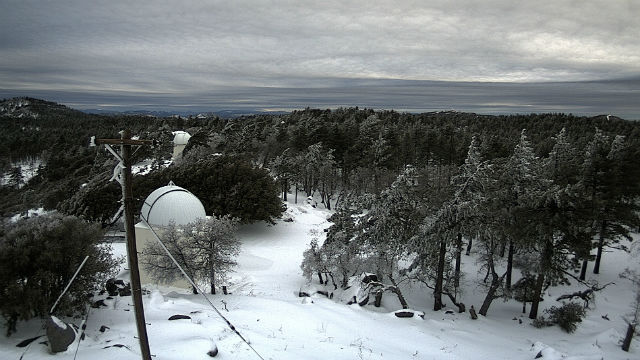 Snow around the Mt. Laguna observatory on Sunday morning. Courtesy HPWREN network