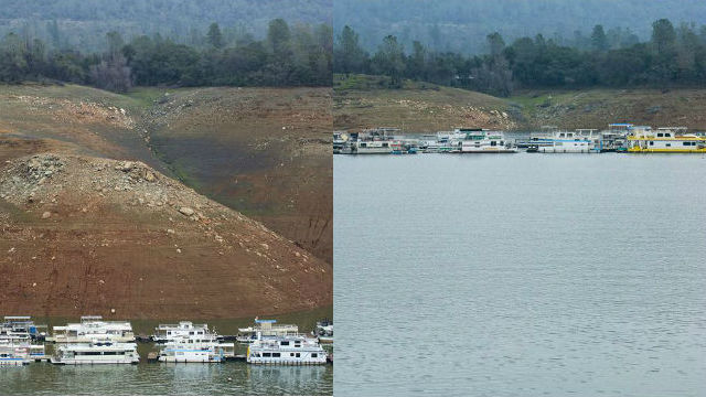 The Oroville Reservoir, California's second largest, in January 2016 (left) and January 2017 (right). Courtesy San Diego County Water Authority