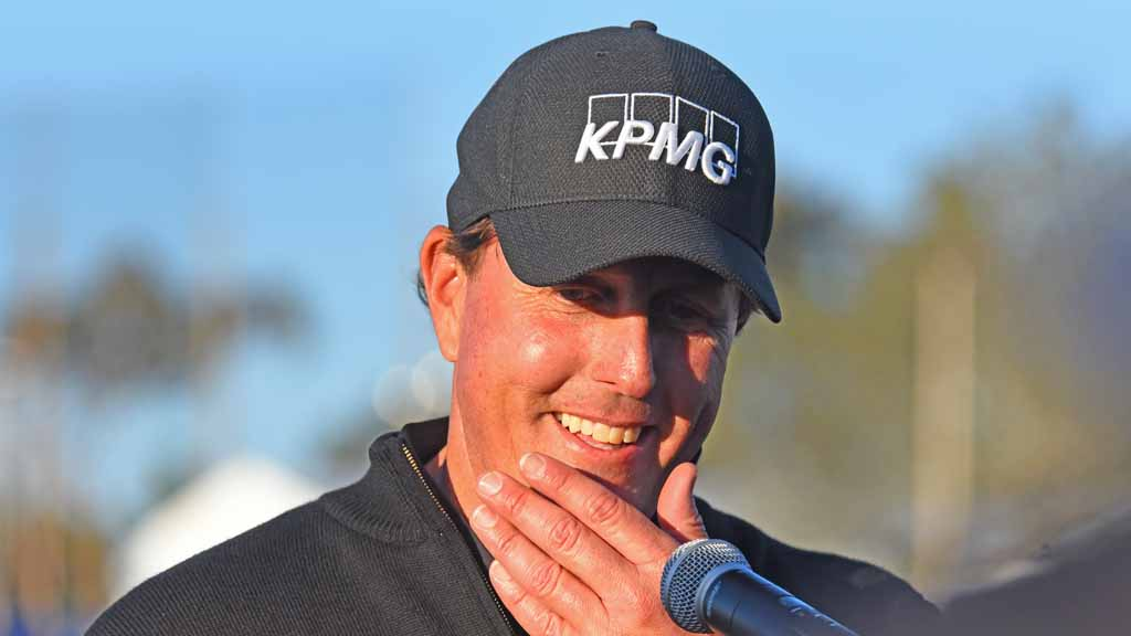 Phil Mickelson answers media questions after finishing his round in the Zurich Pro-Am in the Farmers Open.