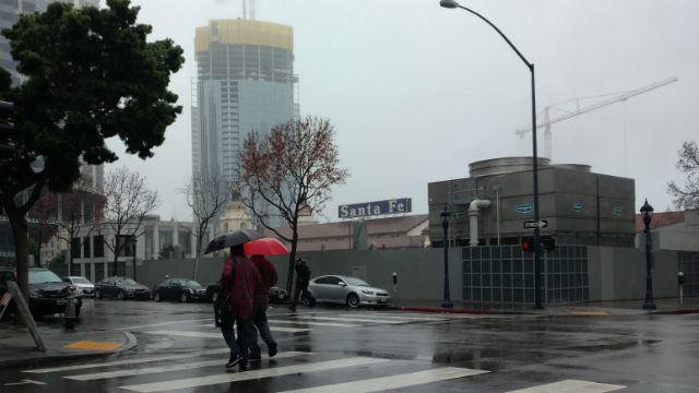Rain in downtown San Diego on Wednesday afternoon. Photo by Chris Jennewein