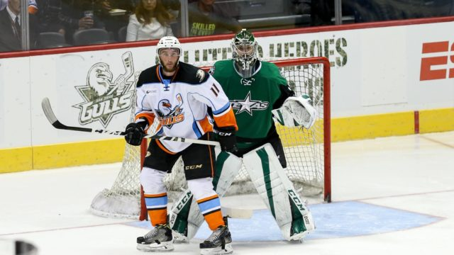 Action on the ice Friday night at Valley View Casino Center. Courtesy San Diego Gulls