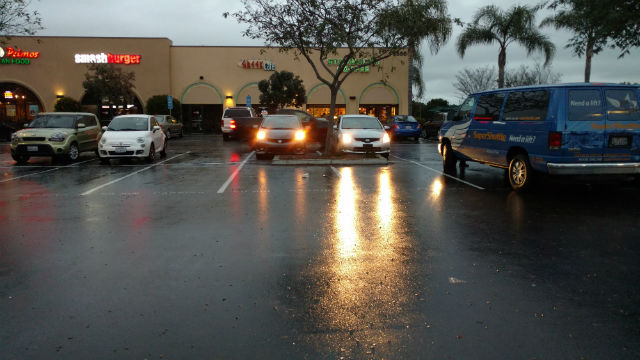 A rain-slicked parking lot in Pt. Loma on Wednesday morning. Photo by Chris Jennewein