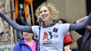 Sarah Dolgen-Shaftel, lead organizer of the San Diego Women's March, speaks before the event. Photo by Chris Stone
