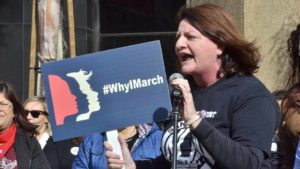State Sen. Toni Atkins spoke to the crowd of tens of thousands before the Women's March. Photo by Chris Stone