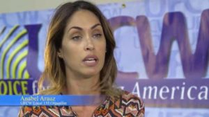Anabel Arauz appears in UFCW Local 135 video celebrating her part in successful CVS union-organizing effort. Image via YouTube.com