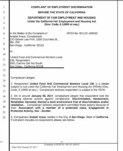 Anabel Arauz complaint to state Department of Employment and Housing. (PDF)