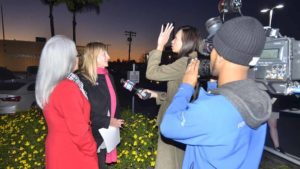 Irene McCormack (left) and Donna Frye share their thoughts with local Fox TV crew. Photo by Ken Stone