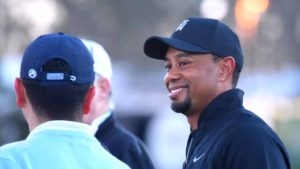 Tiger Woods flashes trademark smile at Torrey Pines Golf Course. Photo by Chris Stone