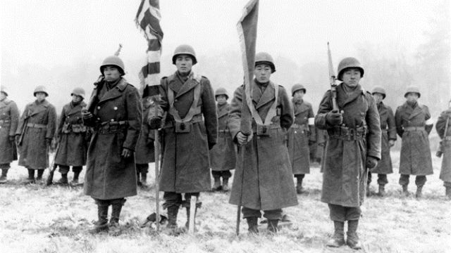 Members of the 442nd Regiment in France in 1944. Courtesy of the National Archives