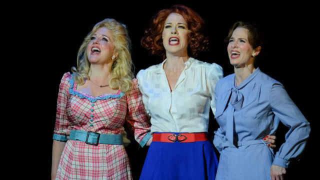 "Karyn Overstreet (left) as Doralee, Joy Yandell as Violet, and Allison Spratt Pearce as Judy in San Diego Musical Theatre's production of ""9 to 5."""