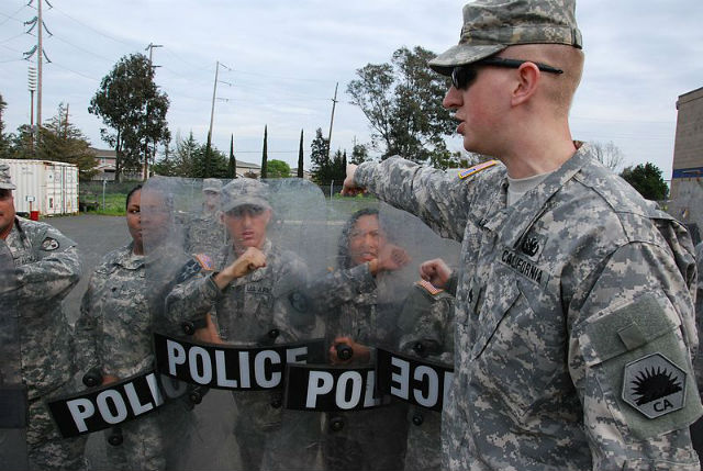 California Army National Guard members in a crowd-control training class in 2013. National Guard photo