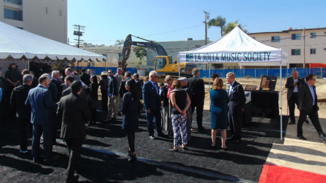 The crowd gathers for the official groundbreaking on Fay Street in La Jolla. Photo by Chris Jennewein