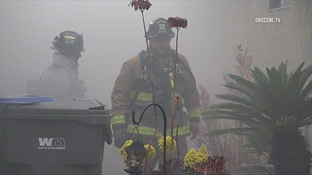 Oceanside firefighters at the scene of the blaze. Courtesy OnScene.TV