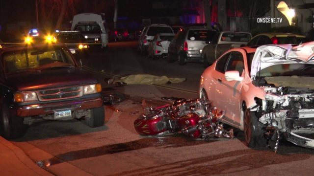 The wreckage of the motorcycle and the car it struck. Courtesy OnScene.TV