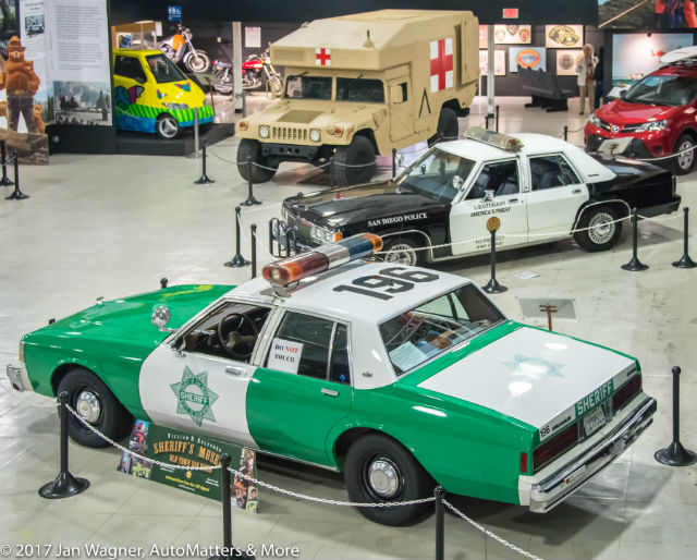Some of the vehicles in the First Responders exhibit at the San Diego Automotive Museum.