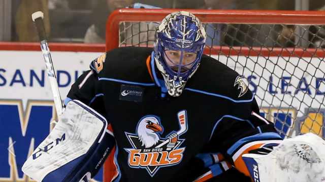 San Diego Gulls goaltender Jhonas Enroth. Courtesy of the team