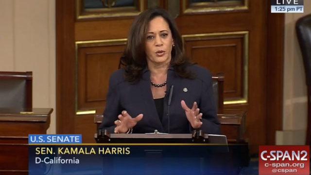 Sen. Kamala Harris speaks in the Senate chambers. Courtesy C-SPAN