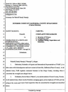 Sandy Naranjo suit filed Feb. 3 against Mickey Kasparian, FAIR and others. (PDF)