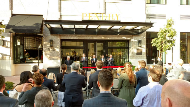 The crowd on J Street in front of the Pendry just before the ribbon cutting. Photo by Chris Jennewein
