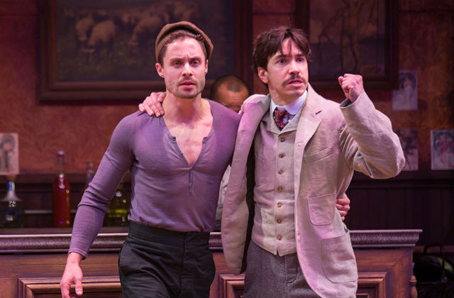"Philippe Bowgen (left) as Pablo Picasso and Justin Long as Albert Einstein in the Old Globe Theatre's ""Picasso at the Lapin Agile."" Photo by Jim Cox"